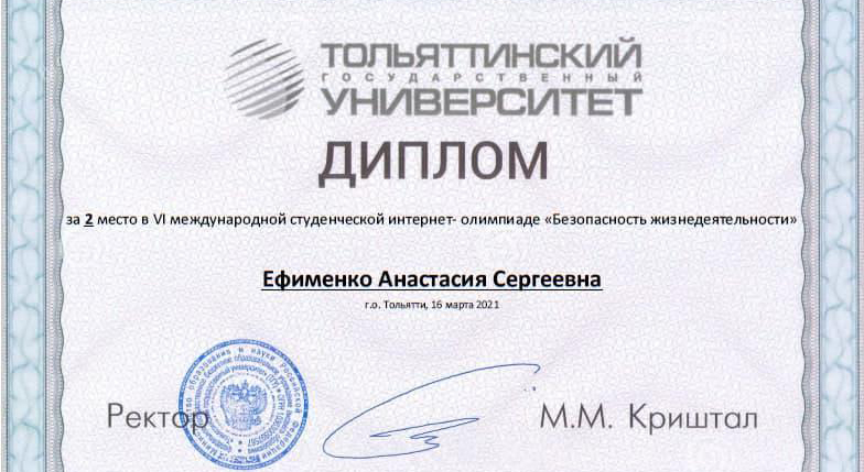 Second place in the VI International Student Internet Olympiad «LIFE SAFETY»